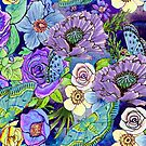 Blue and lilac floral, Smoky blue Blooms  by MagentaRose