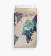 World Map cold World Duvet Cover