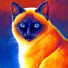 Colorful Siamese Cat Portrait by Rebecca Wang
