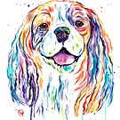 Cavalier King Charles Spaniel - Colorful Watercolor Painting by Lisa Whitehouse