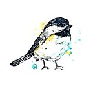 Chickadee - Itty Bitty Chickadee - Watercolor Painting by Lisa Whitehouse