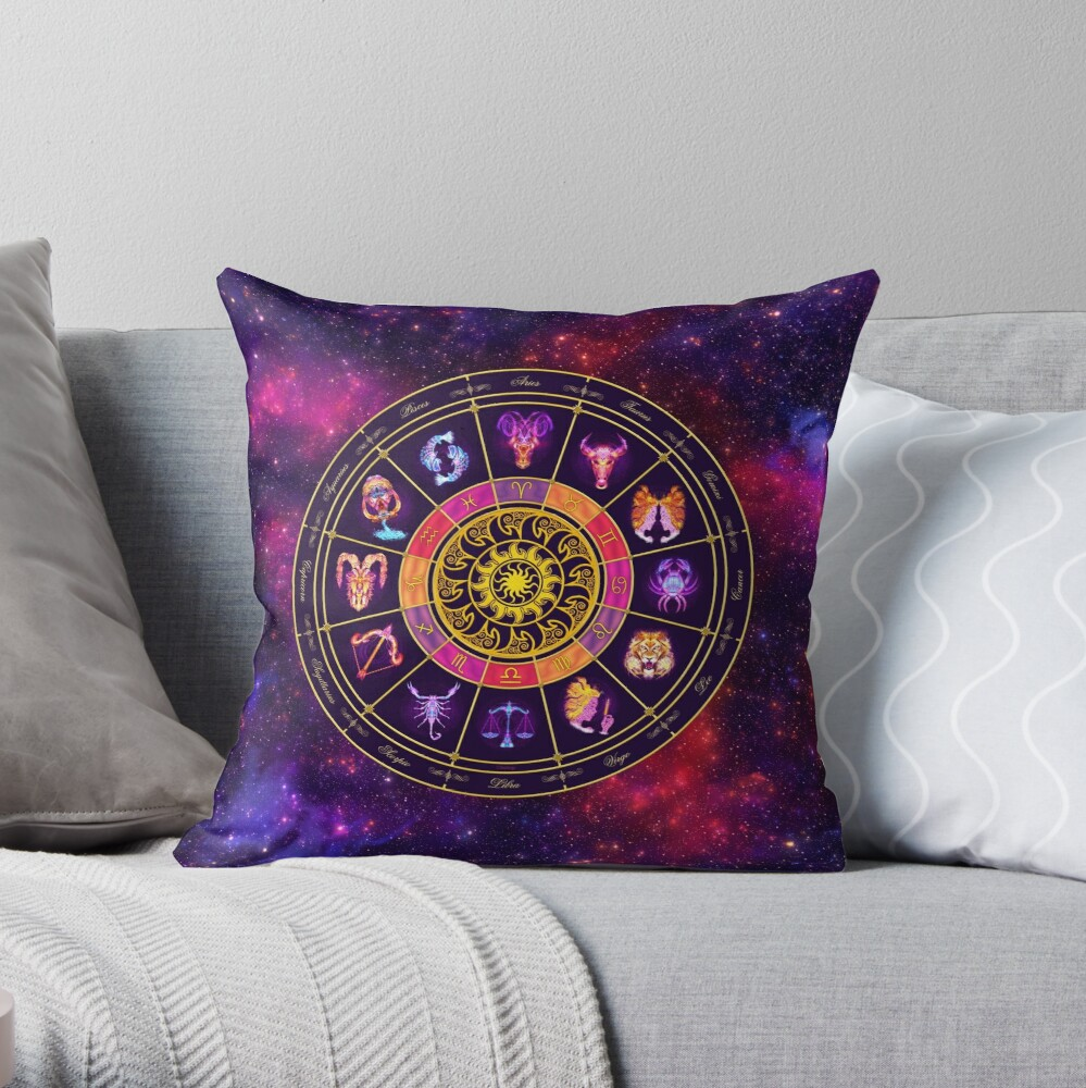 Sun Zodiac Lightburst - Circle Throw Pillow