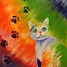 Cat Fingerpainting Print by Insomnia-Doodle