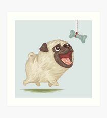 Happy Pug and bone Art Print