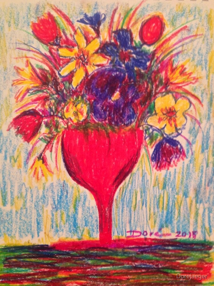 Flowers in Red Vase by Dorejaeger