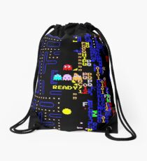 Retro Arcade Split Screen Drawstring Bag