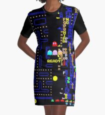 Retro Arcade Split Screen Graphic T-Shirt Dress