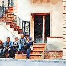 Old men sitting on the street by Giuseppe Cocco