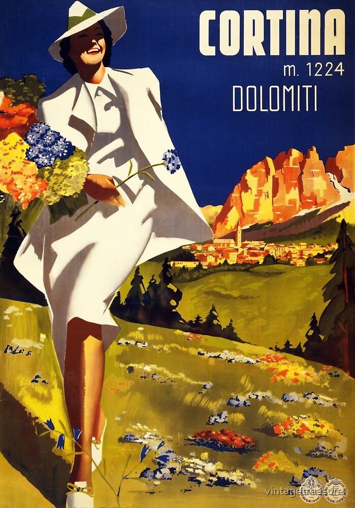 Cortina Dolomiti Italy Vintage Poster Restored by vintagetreasure