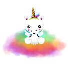 Cute Baby Unicorn on Rainbow Cloud by GraphicAllusion