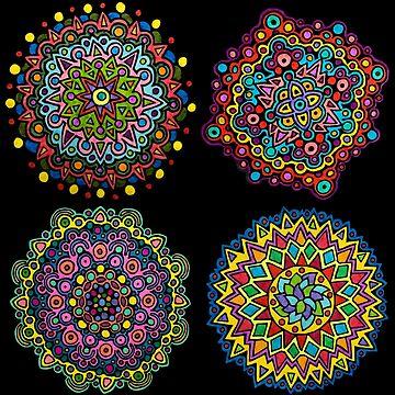 Set of 4 Bright & Colorful Mandalas by gorff