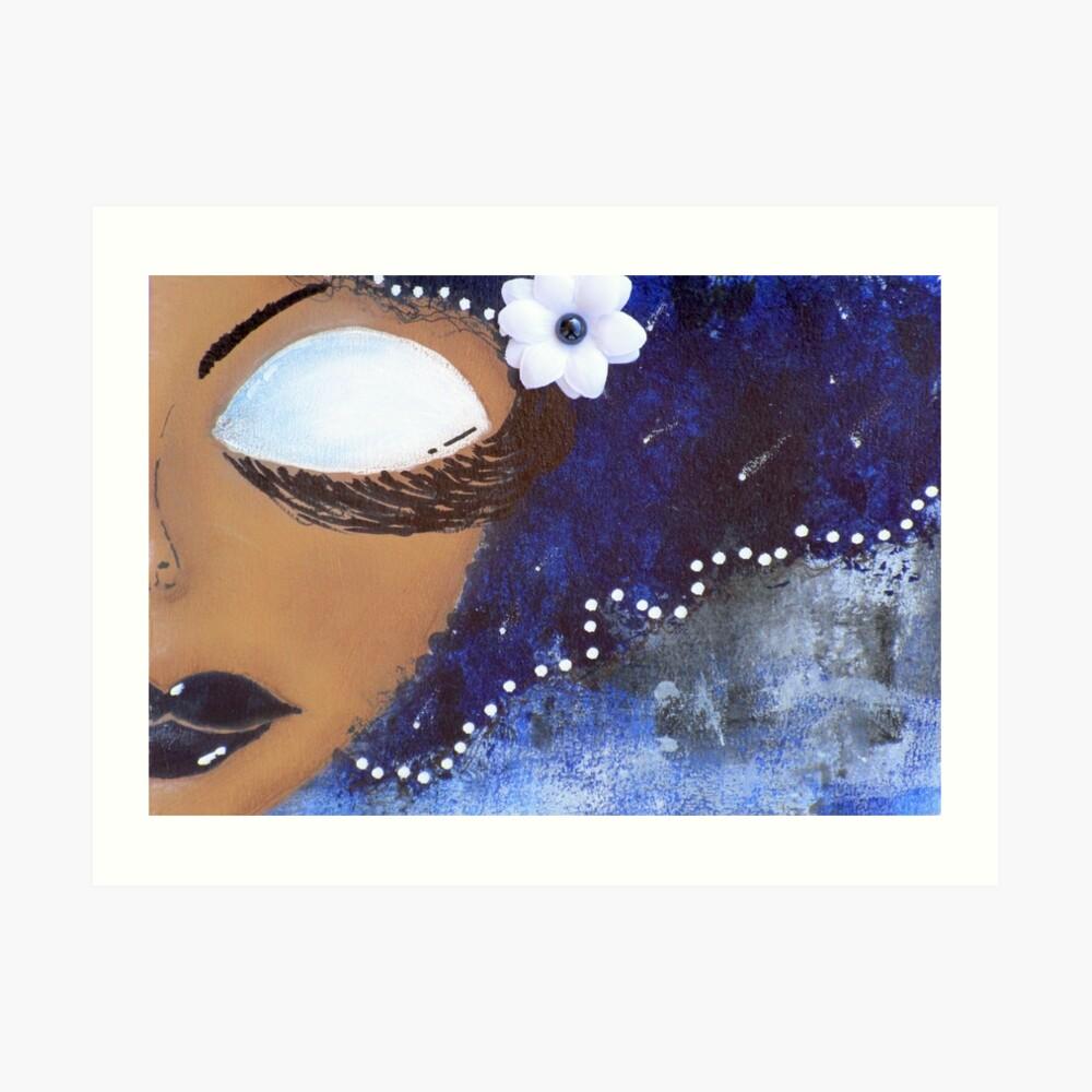 Freches Mädchen blau und weiß Kunstdruck