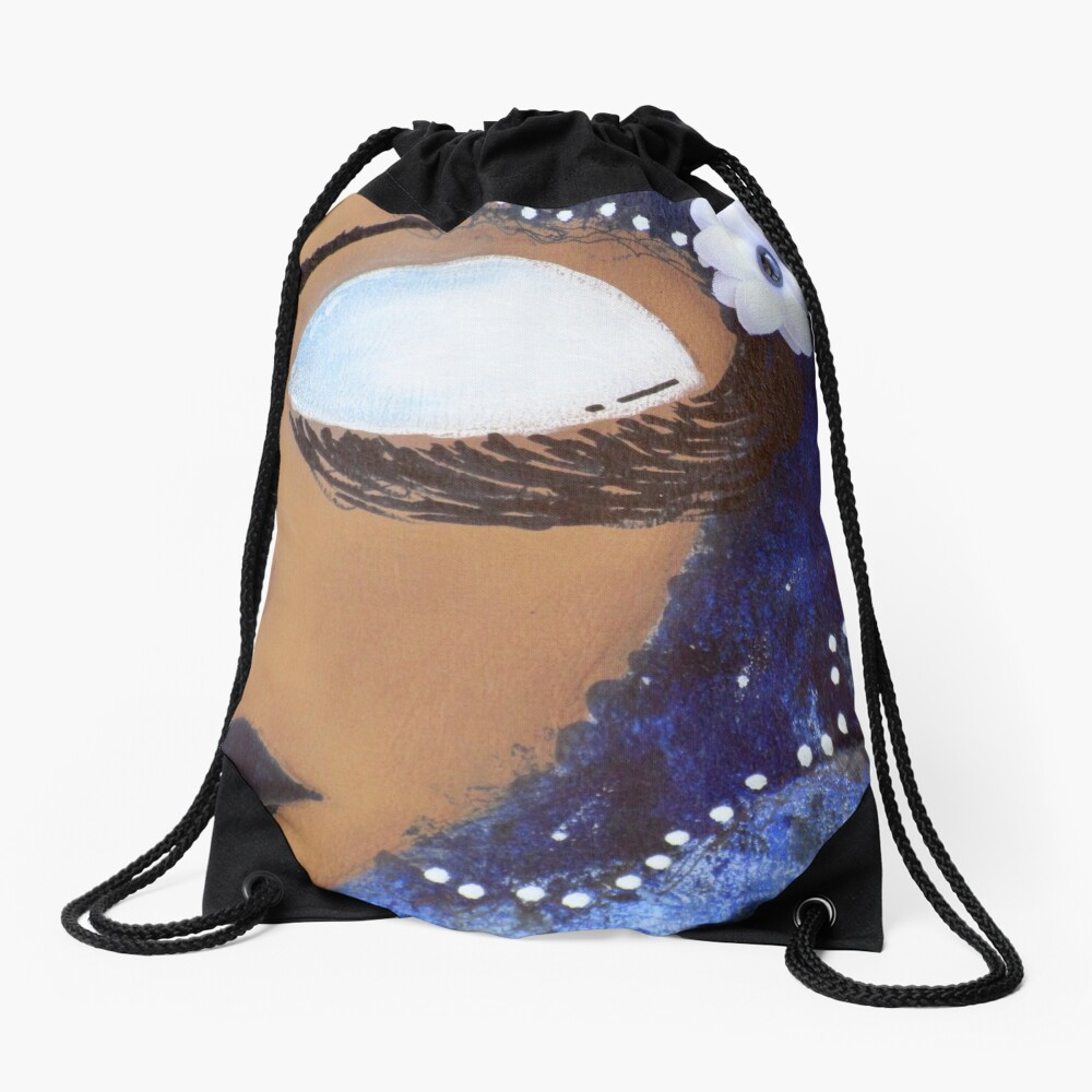 Sassy Girl Blue and White Drawstring Bag Front