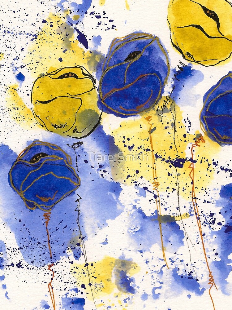 Blue and Gold Splotch Flowers by classygirl