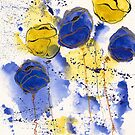 Blue and Gold Splotch Flowers by Tiare Smith