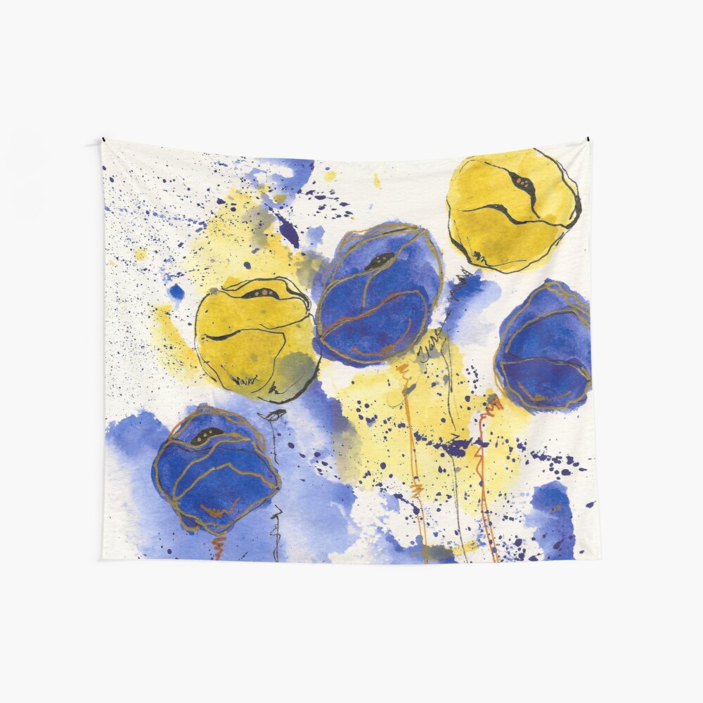 Blue and Gold Splotch Flowers Wall Tapestry