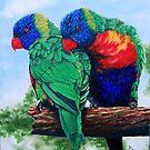 Rainbow Lorikeets by ria gilham