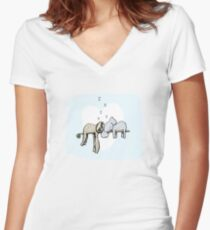 Koala and Sloth Sleeping Fitted V-Neck T-Shirt