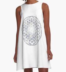 Flower Of Life - Sacred Geometry Star Cluster A-Line Dress