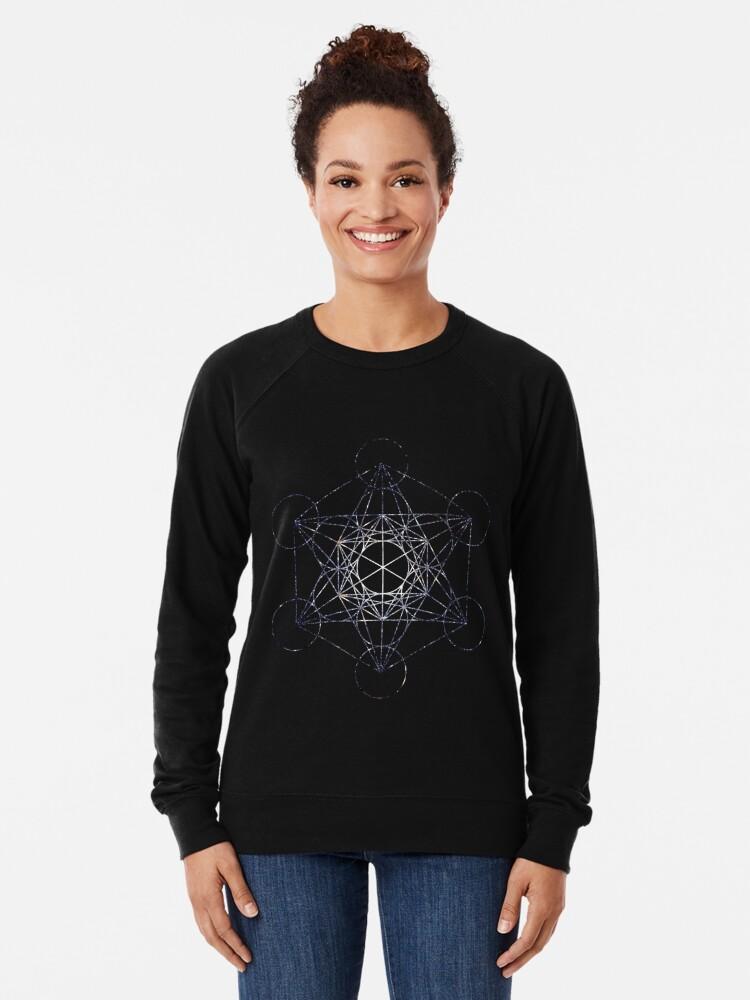 Alternate view of Metatron's Cube Star Cluster - Sacred Geometry Lightweight Sweatshirt