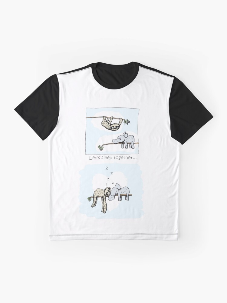 Alternate view of Koala and Sloth - Sleeping Together Cartoon Graphic T-Shirt