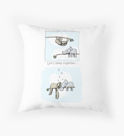 Koala and Sloth - Sleeping Together Cartoon Floor Pillow