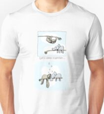 Koala and Sloth - Sleeping Together Cartoon Slim Fit T-Shirt