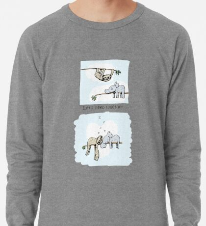Koala and Sloth - Sleeping Together Cartoon Lightweight Sweatshirt