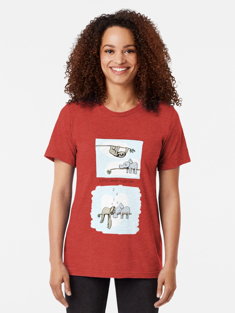 Alternate view of Koala and Sloth - Sleeping Together Cartoon Tri-blend T-Shirt