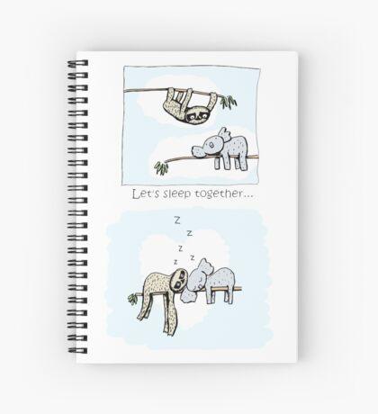 Koala and Sloth - Sleeping Together Cartoon Spiral Notebook