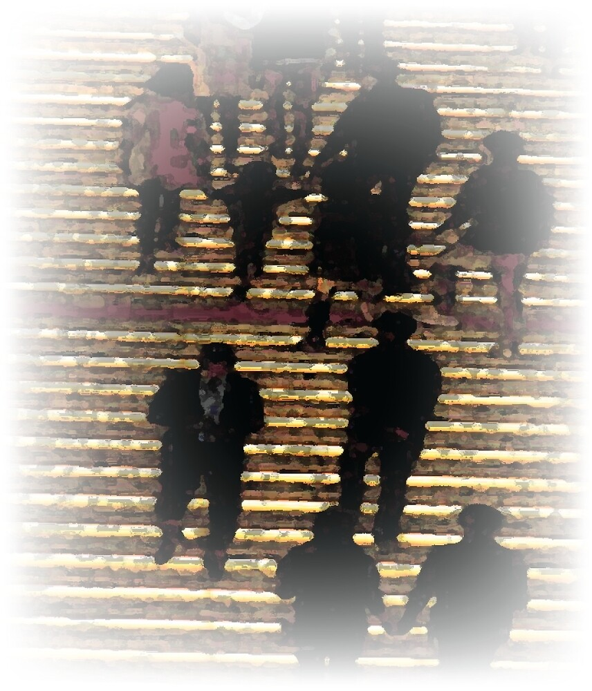 Pastel Folks on Stairs by anarchasm