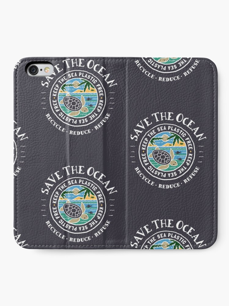 Alternate view of Save The Ocean Keep the Sea Plastic Free Turtle Scene iPhone Wallet