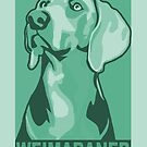 Weimaraner poster-style picture in shades of green by nimbus88