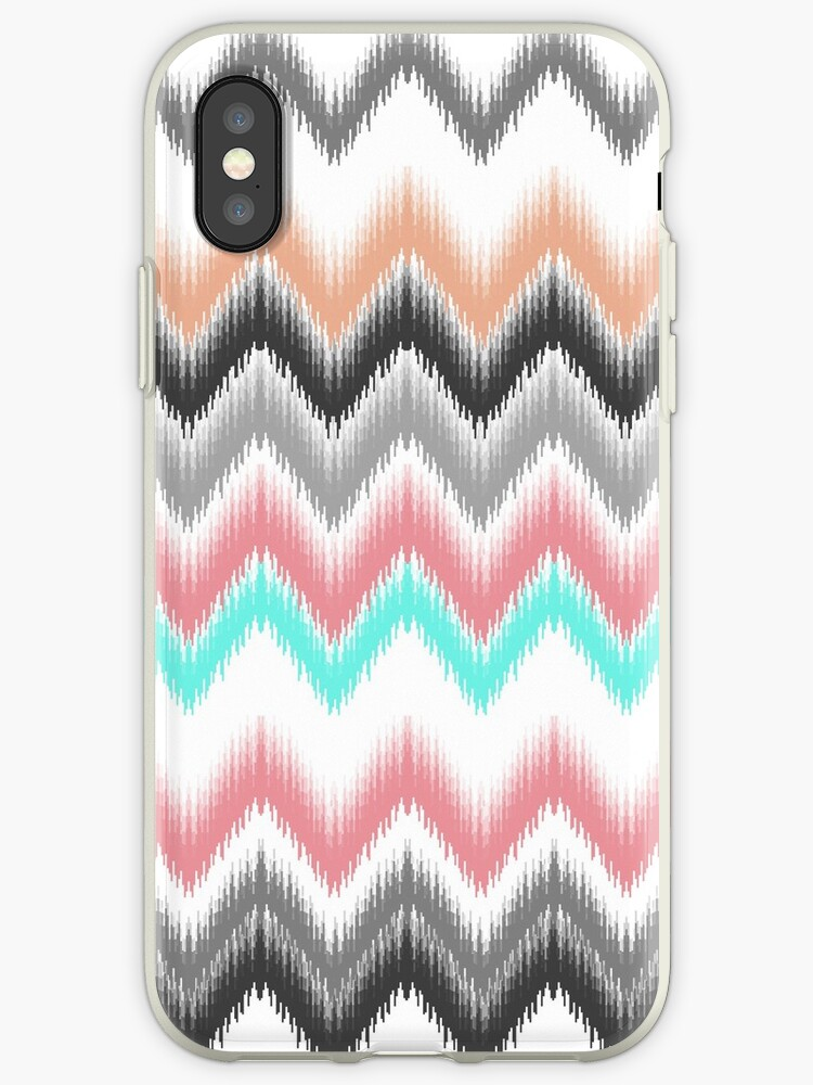 Girly trendy turqouise coral gray ikat pattern by Maria Fernandes