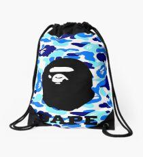 bape shark blue Drawstring Bag