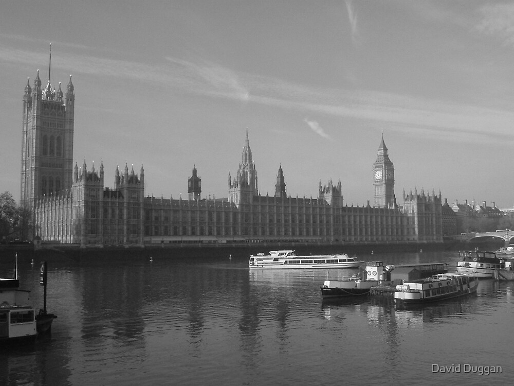 London Houses of Parliament (Black & White) by David Duggan