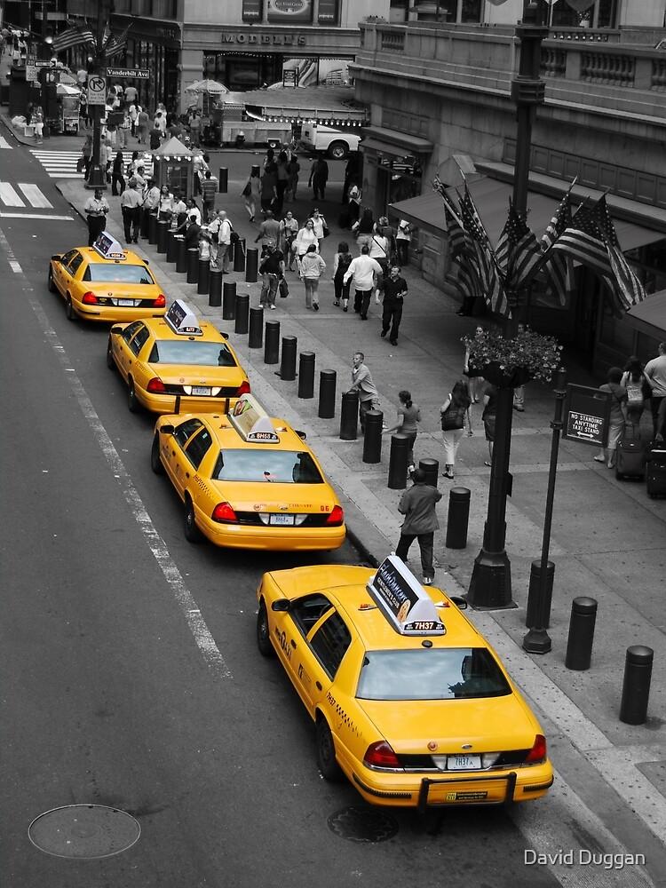 New York Taxis - black, white & yellow by David Duggan