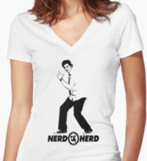Chuck Bartowski - Buy More - NERD HERD Women's Fitted V-Neck T-Shirt