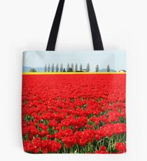 Fire Engine Red Tulips Tote Bag