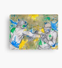 Green Painted Fight Canvas Print