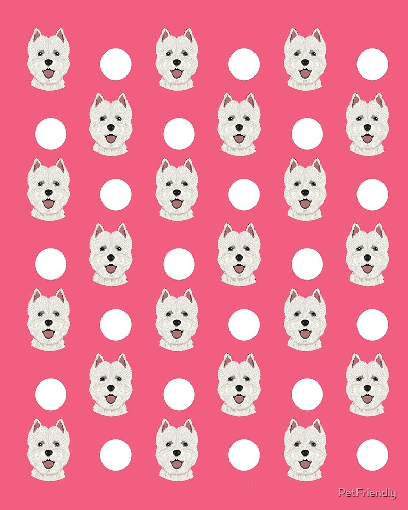 Highland Terrier polka dots pink funny dog gift customizable gifts for dog lover dog person presents by PetFriendly