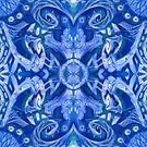 Curves and lotuses, abstract arabesque royal blue white  by clipsocallipso