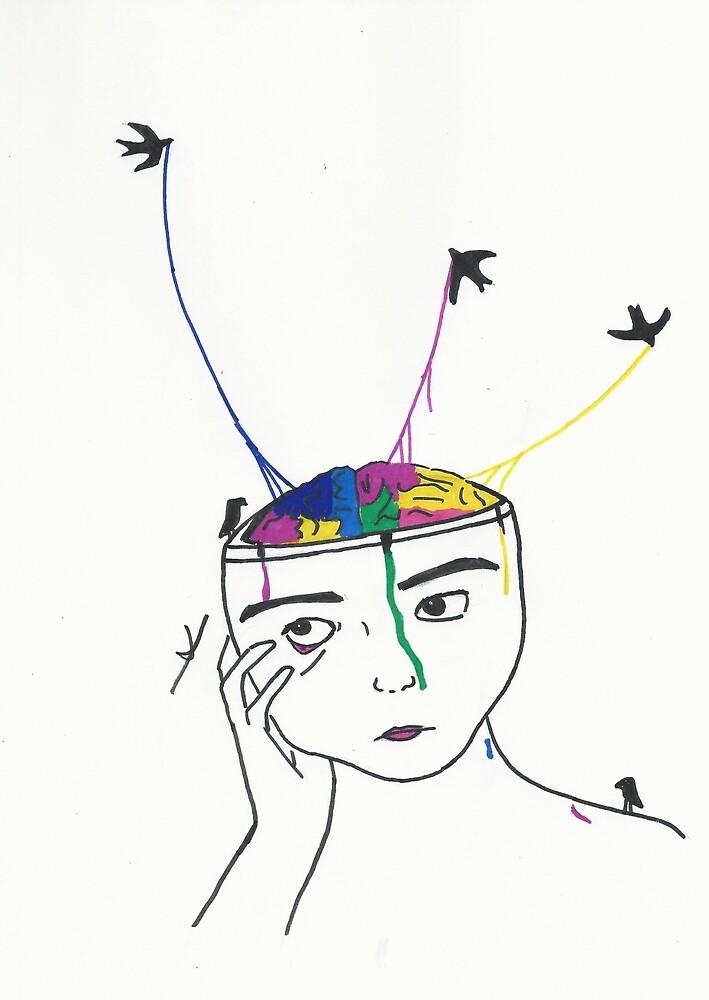 Brain + Birds by gvnnsforhands