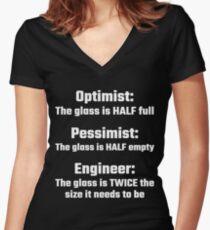 Optimist, Pessimist, Engineer Women's Fitted V-Neck T-Shirt
