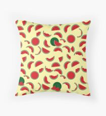 Watermelon Wedge and Slices Throw Pillow