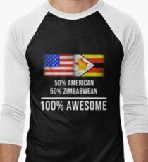 50% American 50% Zimbabwean 100% Awesome - Zimbabwe Flag Gift For Zimbabwean Baseballshirt für Männer