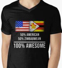 50% American 50% Zimbabwean 100% Awesome - Zimbabwe Flag Gift For Zimbabwean T-Shirt mit V-Ausschnitt für Männer