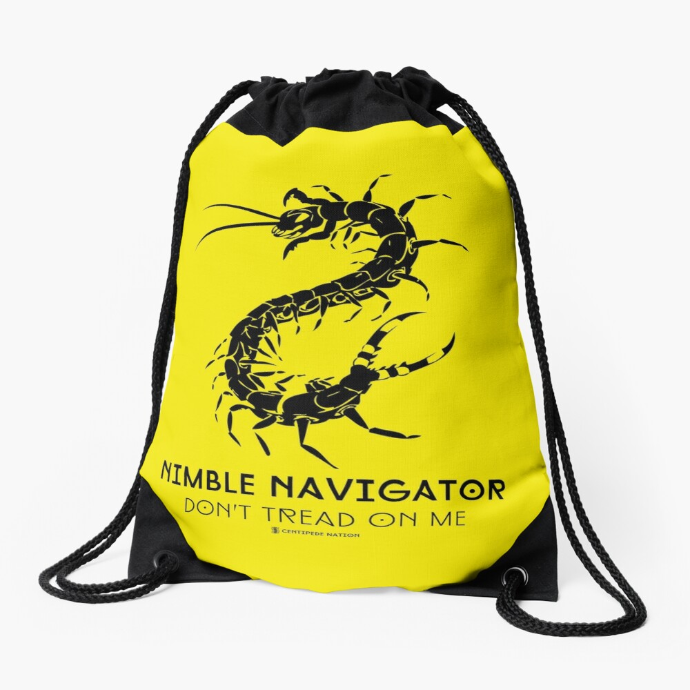The ORIGINAL Nimble Navigator - Don't Tread On Me by Centipede Nation Drawstring Bag