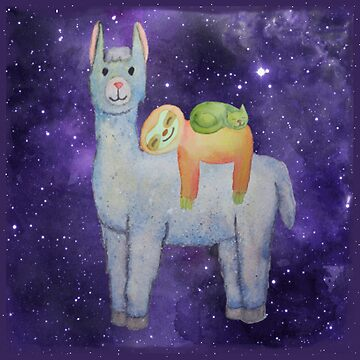 Llama, Sloth and Cat Watercolor Cute Animals by bethcentral