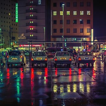 Taxi stand in the rain by TokyoLuv